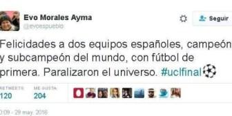 """Evo Morales alborota Twitter al felicitar al Real Madrid como """"campeón del mundo"""""""