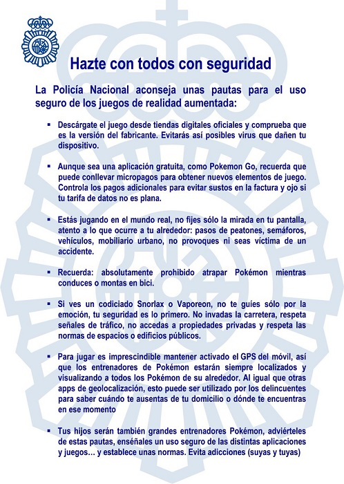 Advertencias Policía Nacional