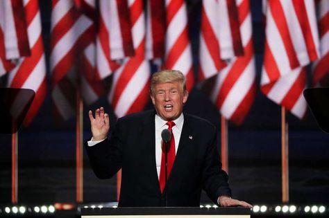 El candidato presidencial republicano Donald Trump, pronuncia un discurso durante la Convención Republicana, en Cleveland de Ohio, Estados Unidos, hoy 21 de julio de 2016. Foto: AFP.