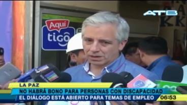 """García: """"No habrá bono para personas con discapacidad"""""""
