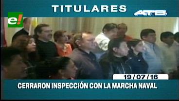 Titulares de TV:  Comitiva boliviana cierra inspección en puertos chilenos entonando la Marcha Naval