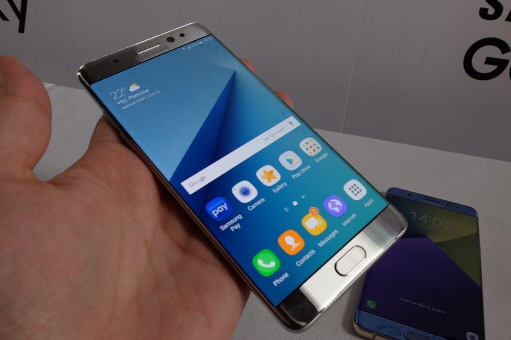 Samsung Galaxy Note 7 plateado frontal