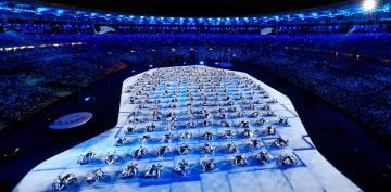 Los mosaicos en la ceremonia de Rio.