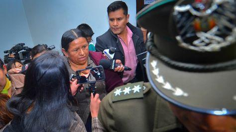 La exministra Nemesia Achacollo en la audiencia de medidas cautelares.