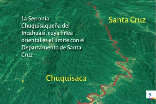LÍMITE. La línea divisoria entre Chuquisaca y Santa Cruz, según la propuesta del Departamento.