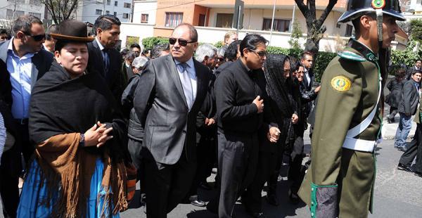 El ministro de Gobierno, Carlos Romero, en el funeral del viceministro Rodolfo Illanes