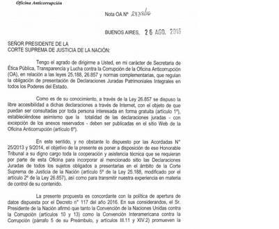 Carta de la Oficina Anticorrupción para la Corte Suprema. Reclamo por las declaraciones juradas.