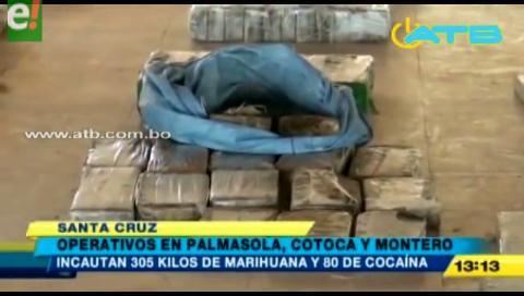 Incautan droga en operativos en Cotoca, Montero y el penal de Palmasola