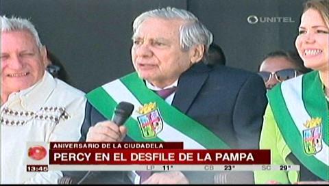 """Percy y su """"chiste"""" en el aniversario de La Pampa"""
