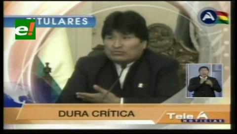 """Titulares de TV: Evo dice que el relator del CIDH se sumó al """"Cartel de la Mentira"""""""