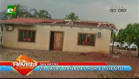 20 casas quedaron dañadas y sin techo por los fuertes vientos en San Matías