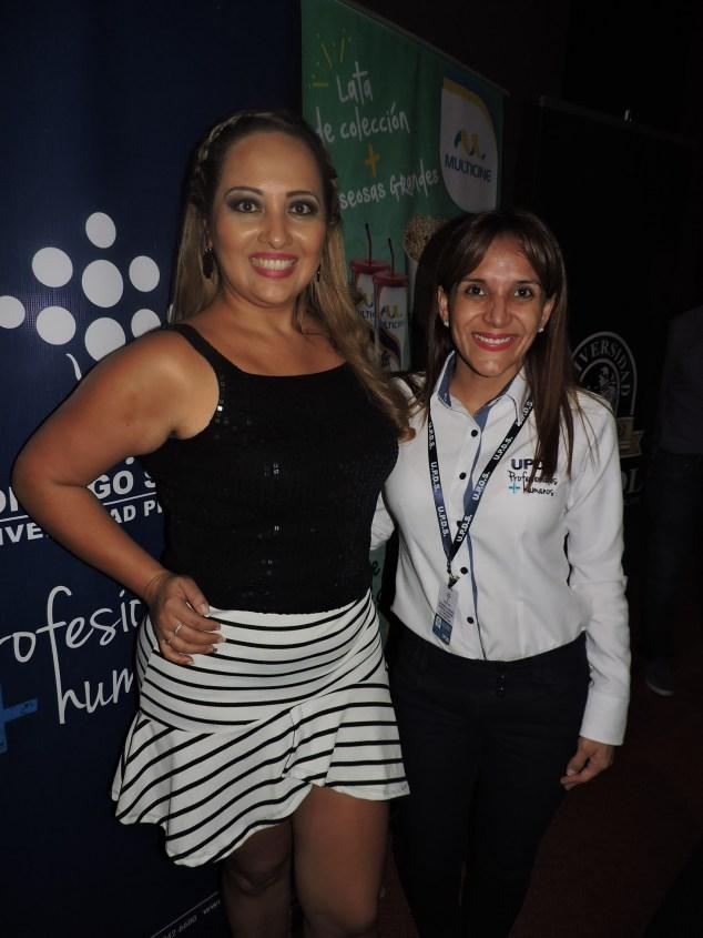 Encargada de Marketing Multicine Santa Cruz , Karla Terrazas y la ejecutiva de UPDS Ericka Rivero
