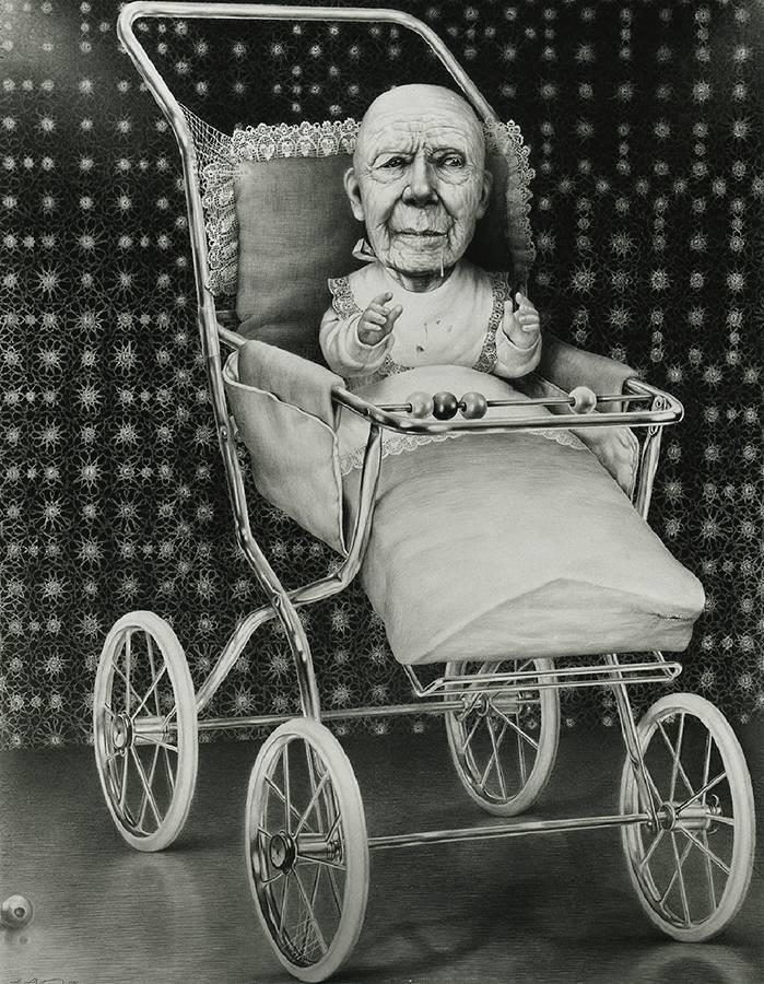 Laurie Lipton, dibujo a lápiz, 'Second Childhood 1989' ('La segunda infancia 1989'), lápiz sobre papel, 88x68.5cm / 34.6