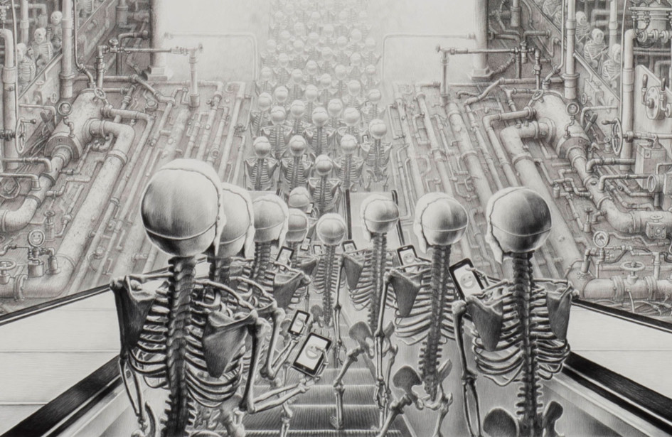 Laurie Lipton, dibujo, 'Happy 2015' ('Feliz 2015'), carboncillo y lápiz sobre papel, 173.5x263.5 cm / 68 1/4