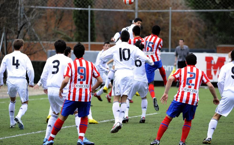Partido entre Atlético y Madrid de categorías inferiores.