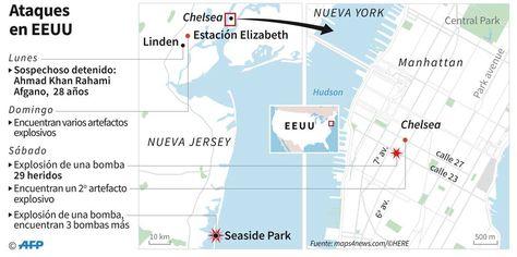 Localización de las explosiones en Nueva York y Nueva Jersey y cronología de la investigación.