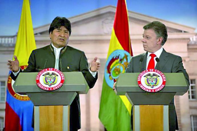 PÚBLICA. Los presidentes de Bolivia, Evo Morales, y de Colombia, Juan Manuel Santos.