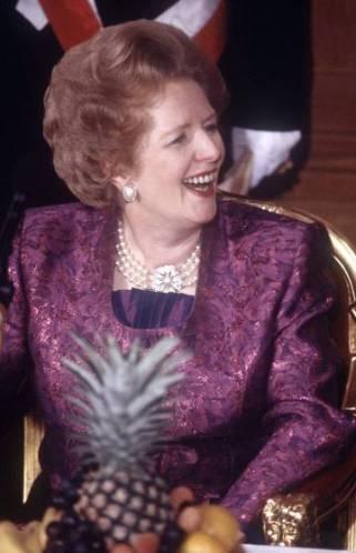 Margaret Thatcher, en el el banquete del Lord Mayor en 1988.