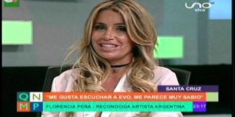 Florencia Peña se declara admiradora de Evo Morales