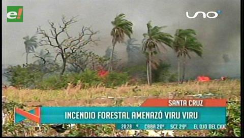 Incendio cerca de Viru Viru moviliza a bomberos