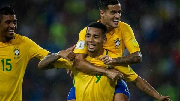 Gabriel Jesus celebra su gol ante Venezuela. EFE