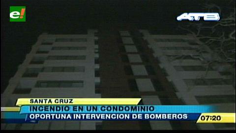Santa Cruz: Bomberos sofocan incendio en un condominio