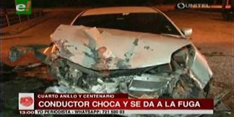 Conductor ebrio se da a la fuga tras chocar en la avenida Centenario