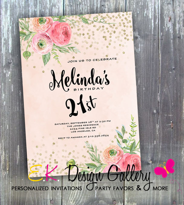 Elegand Flower 21st Birthday Party Invitation - E-File