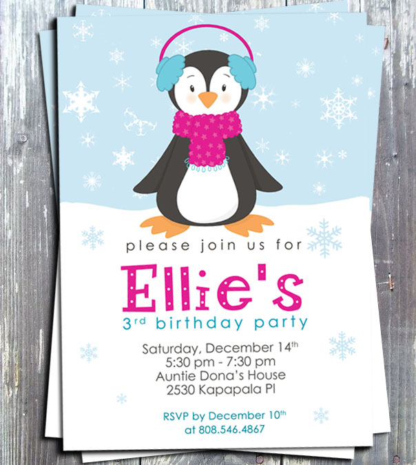 Winter Penguin Girl Birthday Party Invitation Card