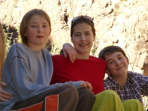 Jesse, Ellen and Will at the bottom of the grand canyon.