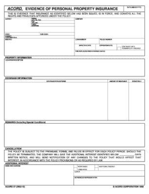 ACORD 27 Evidence of Personal Property Insurance (Form) - acord form