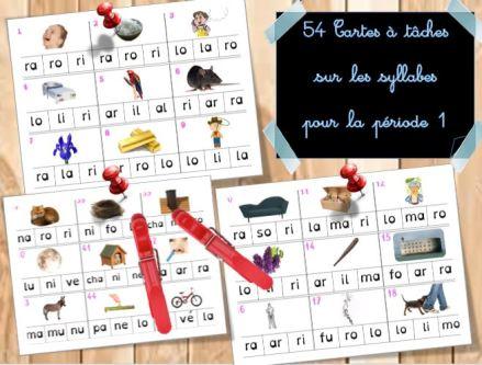 Cartes à Tâche sur les syllabes