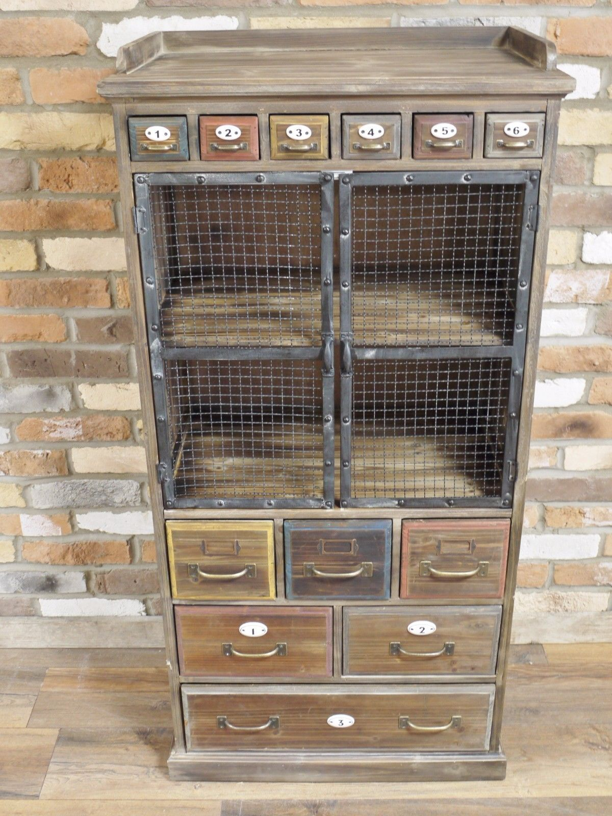 Industrial Vintage Details About Industrial Vintage Retro Antique Wood Metal Style Tall Storage Cabinet Dx4487