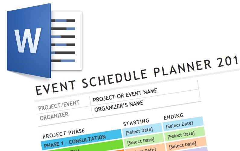 Video Word Event Schedule Template Elaine Giles - event schedule template