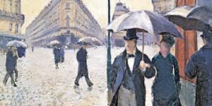 Gustave Caillebotte  Calle de París, tiempo lluvioso. 1877  (Sketch for Paris Street; Rainy Day))  Óleo sobre lienzo. 54 x 65 cm  Musée Marmottan Monet, París.