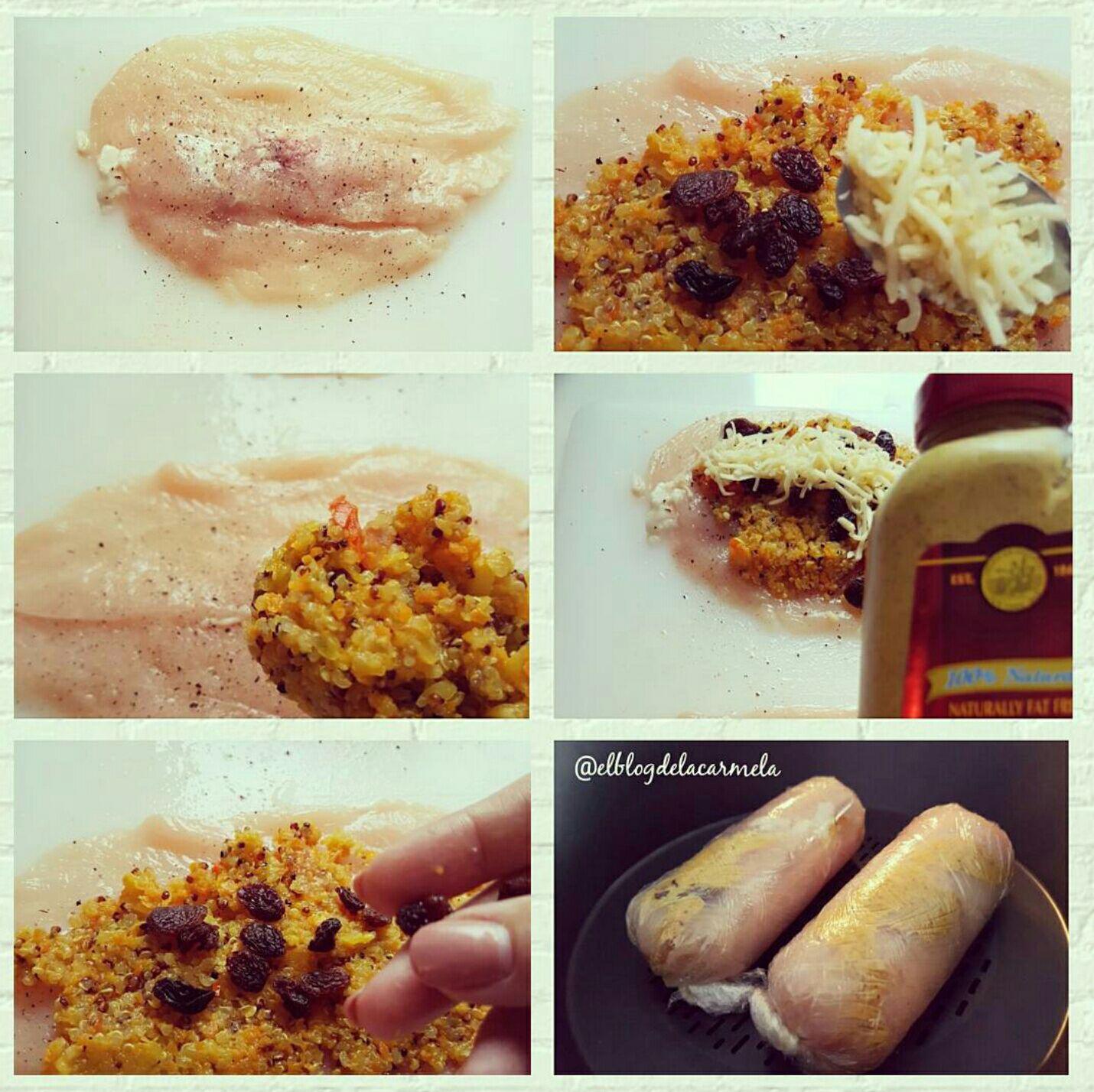 Rollitos de pollo al vapor rellenos de quinoa for Cocinar quinoa con pollo