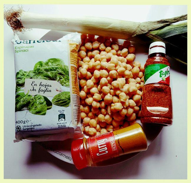 Ingredientes garbanzos con espinacas al curry