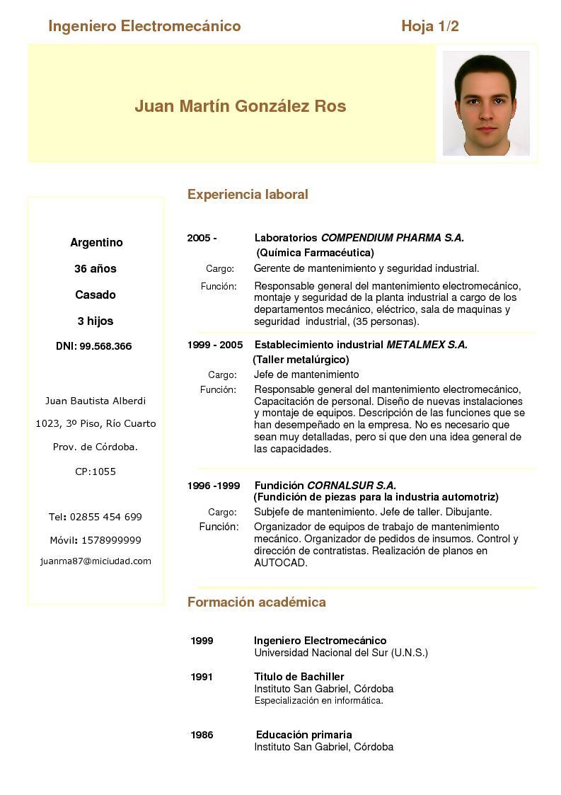 Modelo De Un Curriculum Vitae Simple Word | Resume Pdf Download