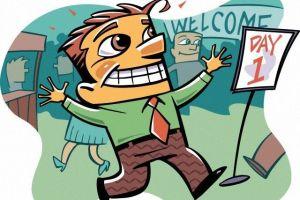 La llegada del empleado a un nuevo trabajo