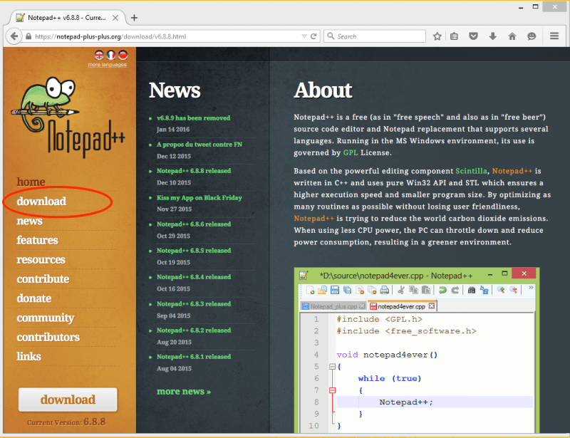 Notepad++ Homepage