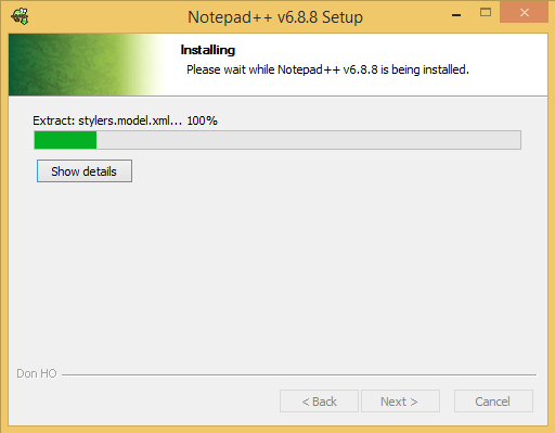 Notepad++ Install Progress Bar