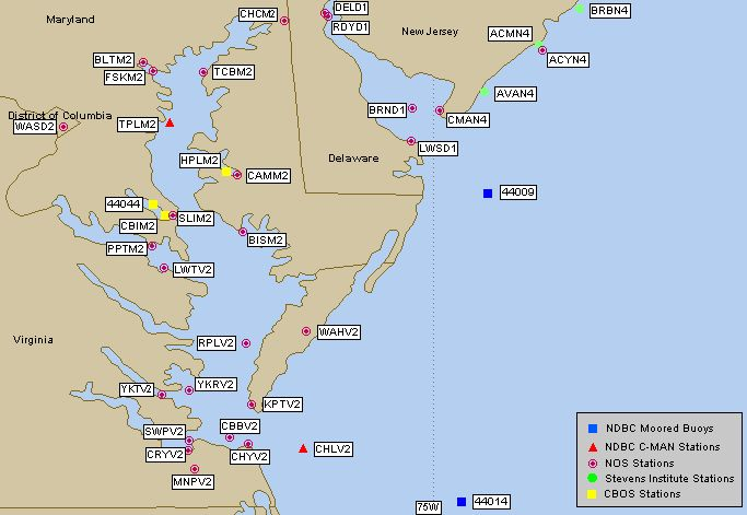Chesapeake Bay Live Buoy Data, Tides, Waves Water Temperature and Wind