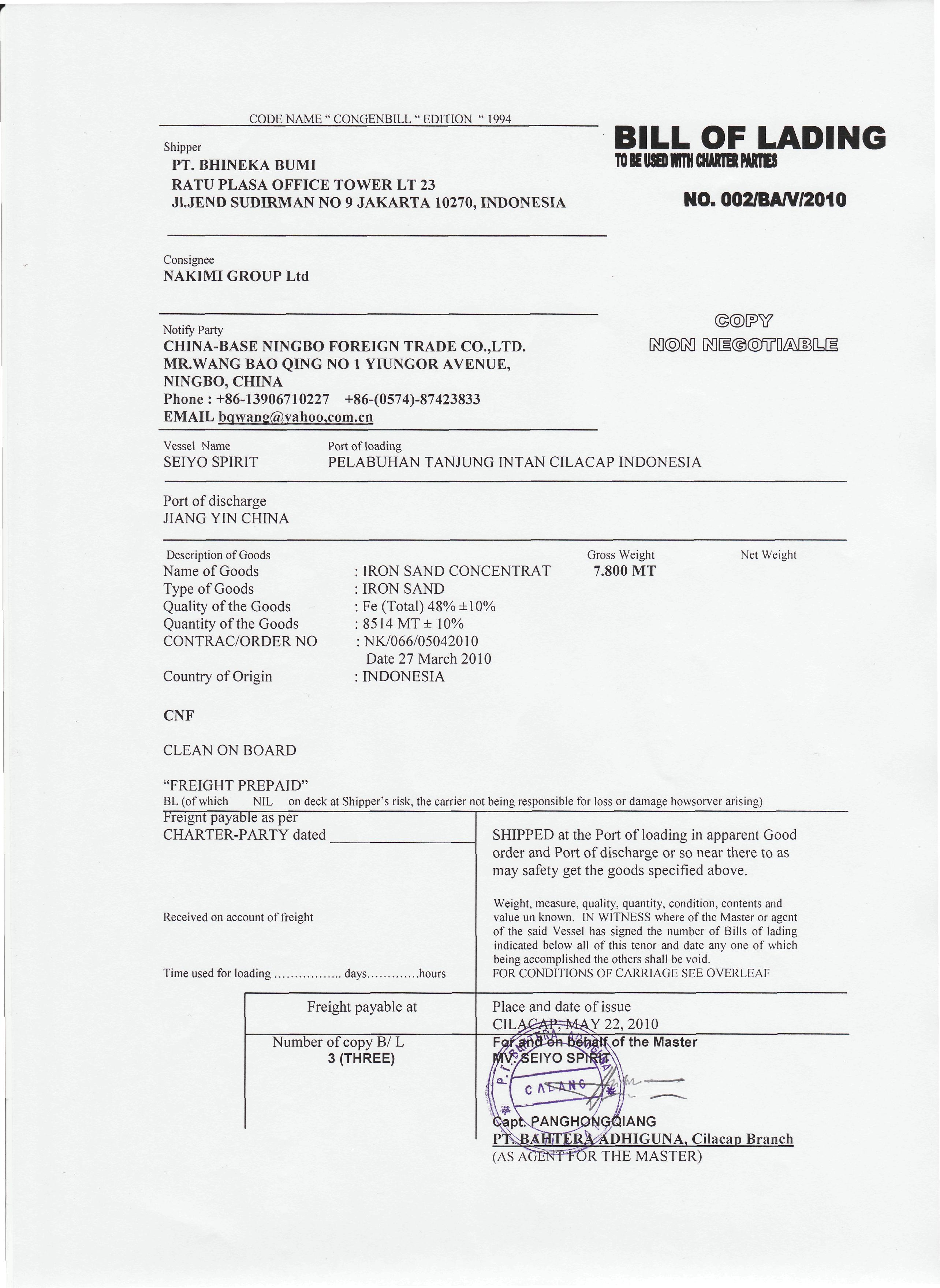 Format Of A Bill Of Lading – Format for a Bill
