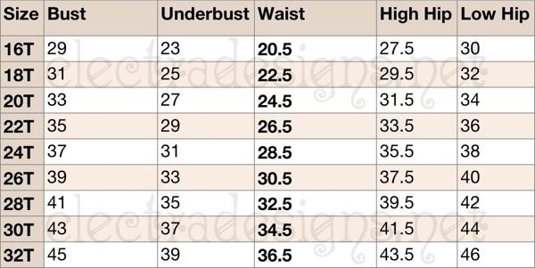 Electra Designs Standard Size Charts - measurement charts