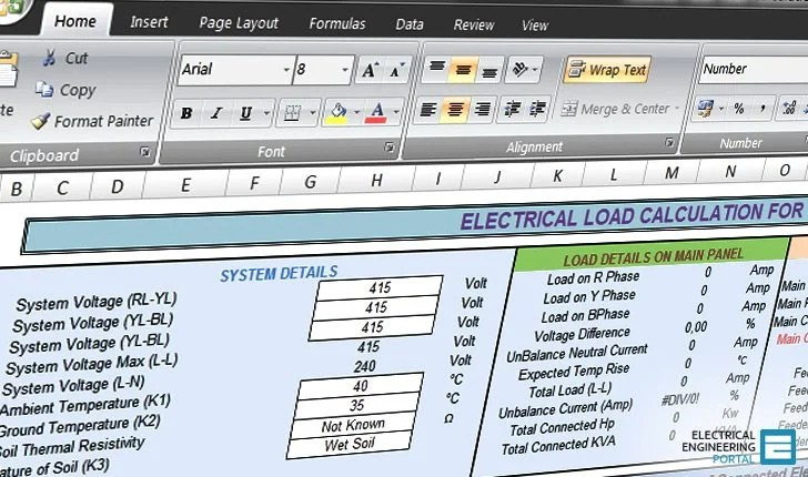 Calculate electrical load of panelboard (Excel spreadsheet)