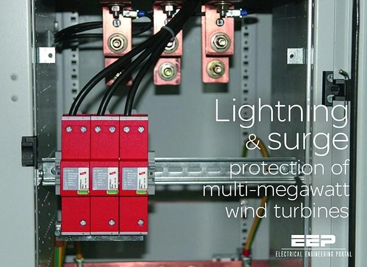 Lightning and surge protection of multi-megawatt wind turbines