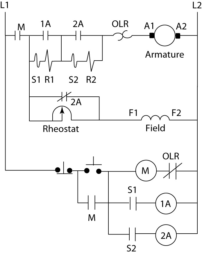 dc motor control by relay