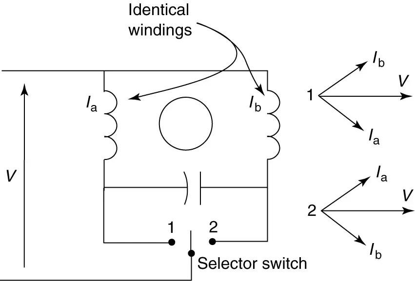 Reversing permanent split-capacitor motor circuit (wiring) diagram