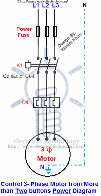 230v 1 Phase Wiring Diagram Free Picture Control 3 Phase Motor From More Than Two Buttons