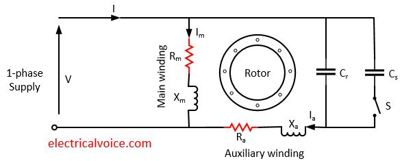 wiring diagram for 220v motor with capacitors